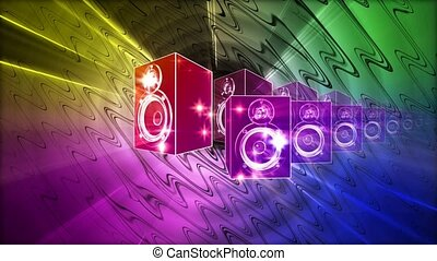 Beating sound speakers on blue, pink, green and yellow background