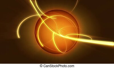 Basketball with gold streaming lights
