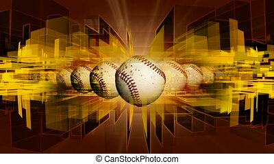 Baseballs with geometric shape background