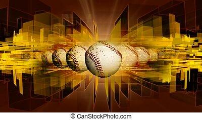 Baseballs with geometric shape background