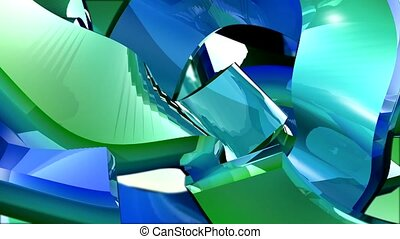 Green and blue flowing shapes