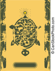 vector turtle and sun on old paper, retro background for...