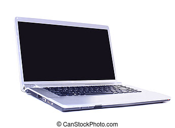 Modern laptop isolated on white with reflections on glass...