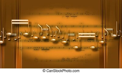 Gold music notes moving across frame with sheet music in...