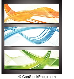 Set of vibrant banners - Abstract waves on white background...