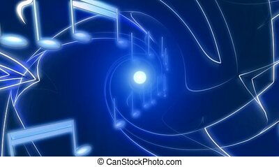 Musical notes on blue abstract