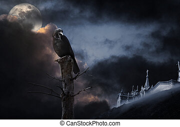Halloween crow - Photo composition with full moon, part of a...