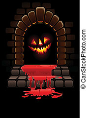 halloween terrible door bloody entrance and glowing face...