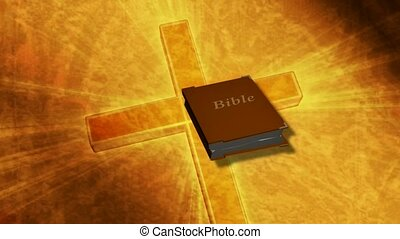 Bible opening on cross background