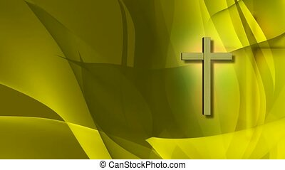 Cross on green background