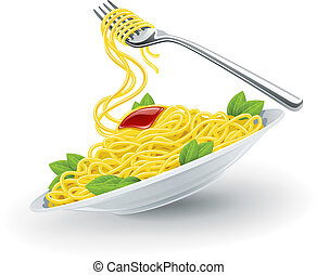 italian pasta in plate with fork - Yellow italian pasta...