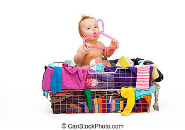 Baby in clothes and hanger - Baby in basket with clothes...