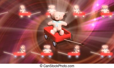 Teddy bear in red wagon