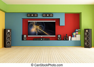 empty room with home theater - empty colorful living room...