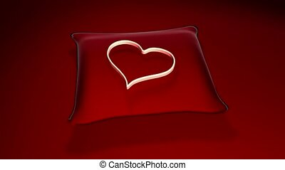 Heart on a red pillow