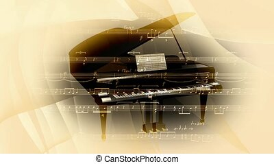 Grand piano on cream background