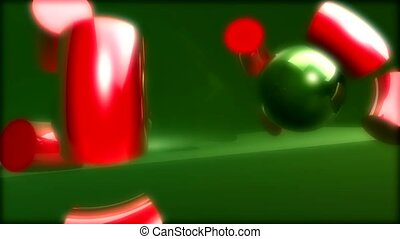 Green balls and red cylinders