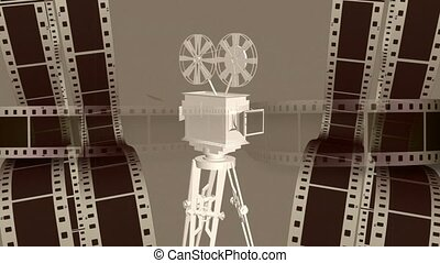 Film projector with film