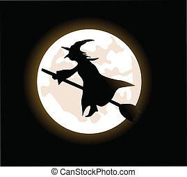 sorcière, voler, manche balai