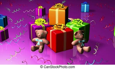 Teddy bears and brightly colored gifts