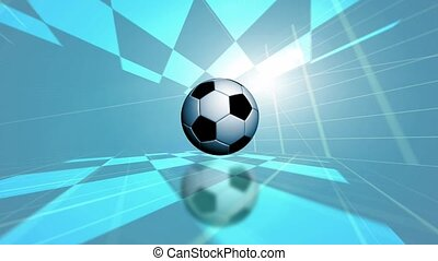 Soccer ball in tiled room