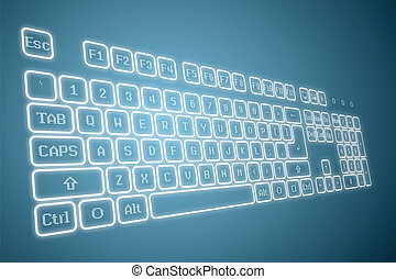 Virtual keyboard in perspective view, glowing keys and...