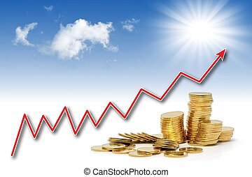 Rising gold value - Stacks of golden coins under rising...