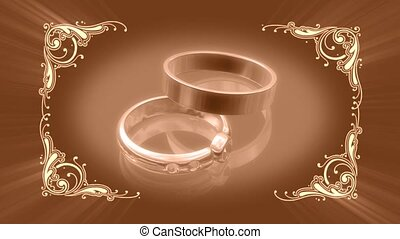 Wedding rings with decorative frame