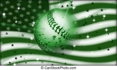 Rotating baseball on American flag background