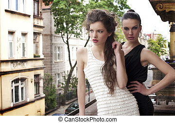 beauty ladys elegant dressed outside - fashion shot of two...