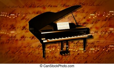 Grand piano with musical score in background