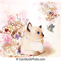 retro birthday greeting  card with thai kitten watching at butterfly . Watercolor style.