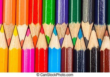 Pencils lined up in a row macro shot