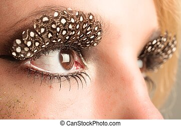 Eye of a girl with extreme makeup