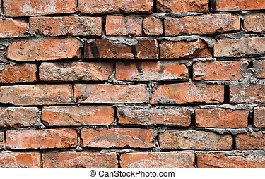 Abandoned brick wall background on industrial building