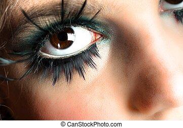 Closeup of an extreme makeup
