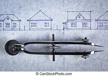 Sketch of houses on a construction plan with a bow