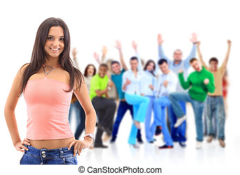 Group of people on white.Teenager - Group of people on...