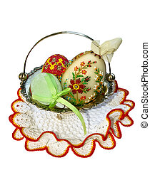 paschal eggs - a cluster of paschal art made eggs in the...