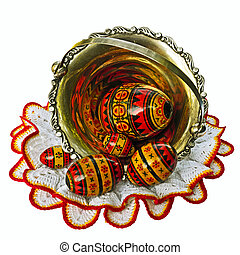 paschal eggs - a cluster of paschal wooden art made eggs in...