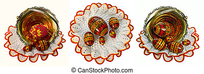 paschal eggs - a set of paschal eggs on white laces