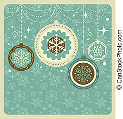 Christmas background with retro pattern, vector