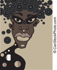 vector young african boy with mask