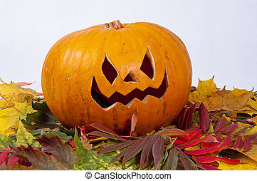 Halloween pumpkin with autumn leaves