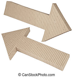 set of cardboard navigation arrows - corrugated cardboard...