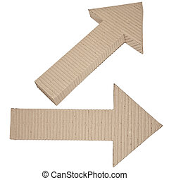 two arrows made of corrugated cardb - corrugated cardboard...