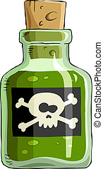Poison - Bottle of poison on a white background, vector