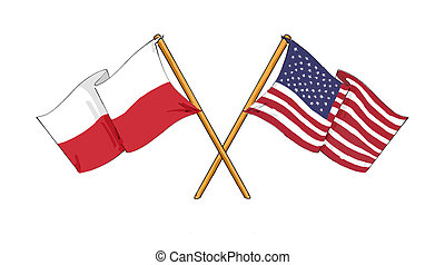 Polish - American alliance and friendship - cartoon-like...