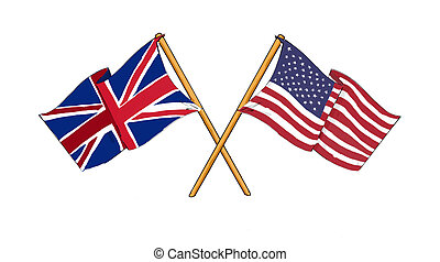 American and British alliance and friendship - cartoon-like...