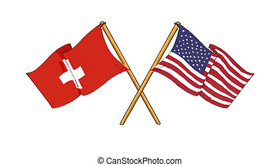 American and swiss alliance and friendship - cartoon-like...